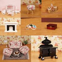 1/12 Dollhouse Miniature Wooden Kitchen Furniture Sofa Kids-D Bedroom Chair W6X3