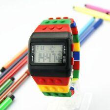 Watch Kids Boy Girl Digital Led Waterproof Rubber Rainbow Wrist Bricks Blocks