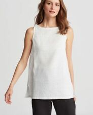 Eileen Fisher XS Sleeveless Shell Top Cotton Guaze Cadence White Black NWT $198