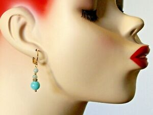 NATURAL AMAZONITE & CRYSTAL DROP EARRINGS WITH GOLD PLATED LEVERBACKS
