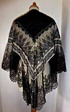VINTAGE ORIGINAL VICTORIAN LACE SHOULDER CAPE STEAMPUNK MOURNING VICTORIA