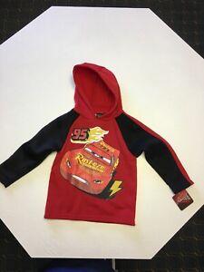 New Disney Pixar Boy's  Hoodie Top With Car Size 5 Red & Black