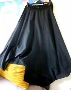 🦋CREA CONCEPT Black 100% Wool Lagenlook Balloon Parachute Boho Skirt 40 🦋
