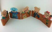 """Pig Wood Sign Border Hand Painted 5 Panels 37"""" Long Rustic Vintage"""