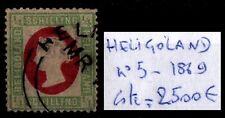 Lot Timbre HELIGOLAND : Reine VICTORIA n°5, Oblitéré = Cote 2.500 €