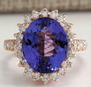 8.43 Carat Natural Tanzanite 14K Solid Rose Gold Luxury Diamond Ring
