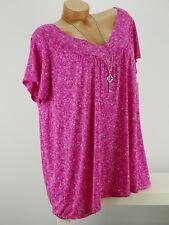 Shirt mit Kette Top Tunika Bluse Lagenlook Größe 46 - 54 one size pink geblümt w