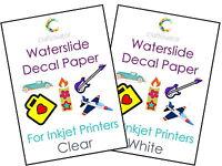 5 Pack Water Slide Decal Paper INKJET A4 Waterslide Transfer Craft Sheets