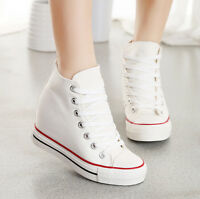 New Womens Sneakers Platform Lace Up High-Top Trainers Hidden Wedge Canvas Shoes