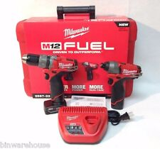 "Milwaukee 2597-22 NEW M12 Fuel 1/2"" Hammer Drill/Driver and Impact Combo Kit"