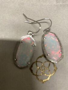 New Kendra Scott Dani Silver Drop Earrings In White Kyocera Opal $130