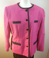 Vtg 80's Ms Cambridge Pink Black Blazer Jacket Suit Coat Size 14