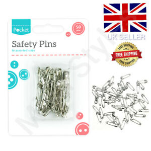 50 SAFETY PINS SILVER 4 SIZES SMALL MEDIUM LARGE EX SEWING CRAFT WEDDING SAFTEY