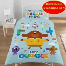 Official Hey Duggee Single Duvet Quilt Cover Set Boys Kids Blue Bedroom Gift