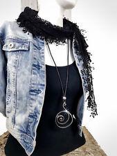 Lederkette Damen Spirale Modekette Anhänger lang Leder Hals Silber Schnecke NEU