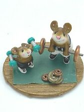 Wee Forest Folk Miniature Figurine MS24 Gym Pals Weight Lifting Mouse 2003