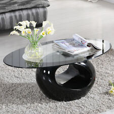 Black Tempered Glass Coffee Table Fiberglass Storage Base Ring Shape Living Room