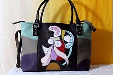 Borsa donna vera pelle nera bag women leather fatta mano ricamata Italy Picasso