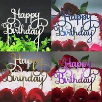 "2PCS Cake ""Happy Birthday"" Cake Topper Card Acrylic Cake Diy Decoration Supplies"