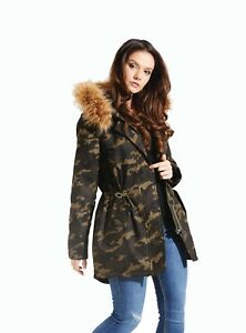 Charcoal Fashion Women's KHAKI Camouflage Printed Winter Parka