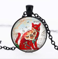 Red Calico Cat Black Glass Cabochon Necklace chain Pendant Wholesale