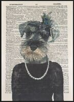 Miniature Schnauzer Print Vintage Dictionary Page Wall Art Picture Girl Dog