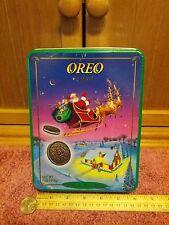 OREO CHRISTMAS TIN 1995 SANTA'S SLEIGH THE MAGIC CHRISTMAS TIN NABISCO