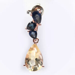 NATURAL GOLDEN YELLOW CITRINE & BLUE SAPPHIRE 925 STERLING SILVER PENDANT