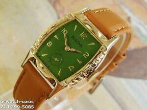 1959 Vintage BULOVA , Fancy Case, Stunning olive Green Dial, Serviced & Warranty