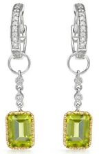 EARRINGS DESIGNED IN 14K TWO TONE GOLD WITH 2.43 CTW DIAMONDS & PERIDOTS. BR NEW
