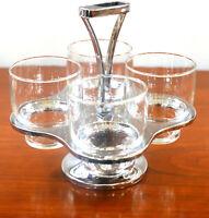 Vintage Kromex Set of 4 MCM Glasses with Caddy Mid Century Modern Barware