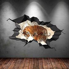 Couleur Complète Tigre Safari Sauvage Cave Fissuré 3D Art Mural Autocollant