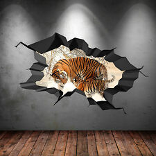 FULL COLOUR TIGER SAFARI WILD CAVE CRACKED 3D WALL ART STICKER DECAL WSD372