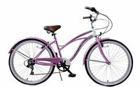 "19"" FRAME LADIES AMERICAN USA CALIFORNIAN STYLE BEACH CRUISER BIKE 6 SPEED CYCLE"