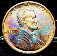 "1917 P Lincoln Wheat Penny Cent- ""Beautiful Toning"" SUPERB GEM HIGH GRADE #03"