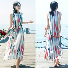 Women Sleeveless Multi Stripe Chiffon Beach Sundress Tunic Boho Maxi Vest Dress