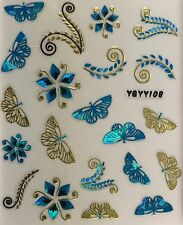 Nail Art 3D Decal Stickers Butterfly Flowers - Blue Gold & Black YGYY108 YGYY117