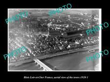 OLD POSTCARD SIZE PHOTO BLOIS LOIR ET CHER FRANCE AERIAL VIEW OF TOWN c1920 2
