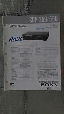 Sony cdp-350 550 Service Manual Original Book cd compact disc player stereo