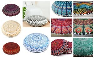 "Large Round Floor Cushion Cover 32"" Inch Indian Handmade Flower Mandala Cotton"
