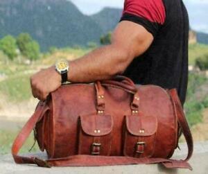 New Top Quality Genuine Leather Duffel Brown Travel Gym Luggage Sport Unisex Bag