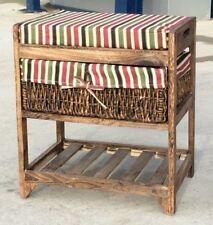 Colourful Fun Storage Footstool Cushion Basket Draw Wood Stripes Hallway Bedroom