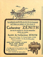 LYON CARBURATEUR ZENITH PUBLICITE 1918
