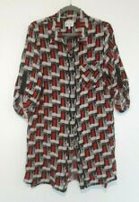 MILLY Women's 100% Silk Blouse with Unique Red Door Print Pattern Size Large