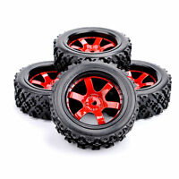4X Rubber Tires Wheel Rim 12mm Hex D6NKR+PP0487 For HSP RC 1/10 RC Off Road Car