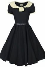 NEW VINTAGE 50'S STYLE ODETTE BLACK ROCKABILLY SWING PARTY DRESS SIZE 16