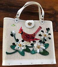 New listing Vintage Jeweled Cardinal White Bucket Collins? Purse