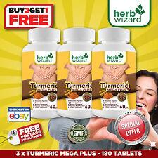 3 x BOTTLES TURMERIC MEGA + 95% CURCUMINOID TUMERIC PILLS ANTIOXIDANT ANTI AGING