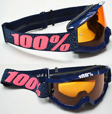 100% PORCENTAJE Accuri Mx Gafas de motocross Futura Naranja Tintado Lente BMX