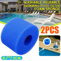 2X Reusable/Washable Foam Hot Tub Filter Cartridge Spa Pool For Intex S1 Type